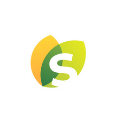 S letter leaf overlapping color logo icon vector