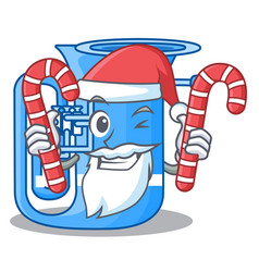 Santa with candy miniature tuba in the shape vector