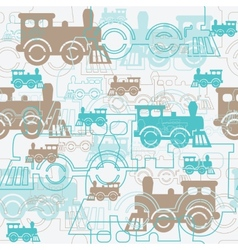 Seamless background with the steam locomotives vector image