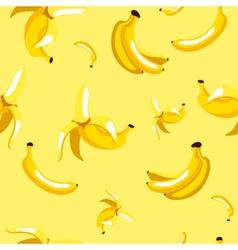 seamless pattern of bananas on yellow background vector image