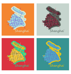 Set of flat detailed shanghai city road network vector