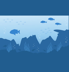 Silhouette of fish and reef underwater landscape vector