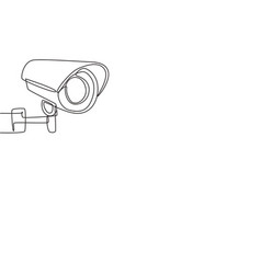 Single continuous line drawing cctv with a round vector