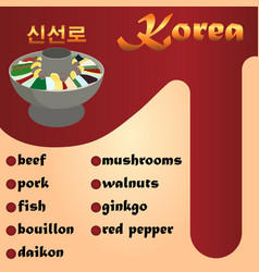 sinseollo is a traditional korean dish beef pork vector image