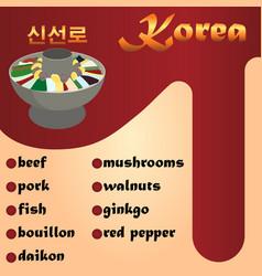 Sinseollo is a traditional korean dish beef pork vector