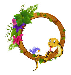 Snake and bird on round wood frame with flower vector