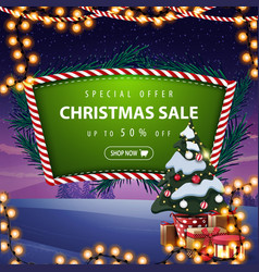 special offer christmas sale up to 50 off green vector image