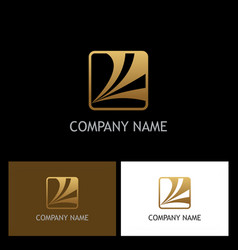 Square loop business gold logo vector