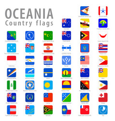 Square oceania national flags vector