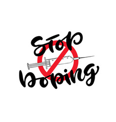Stop doping icon with syringe anti drug concept vector