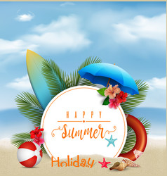 summer holiday background with a white circle for vector image