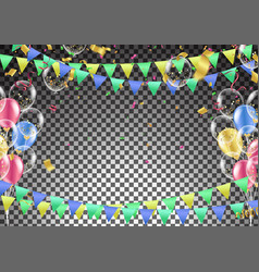 template with confetti balloons concept design vector image