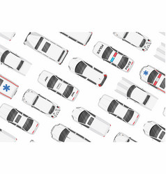 top view of white cars seamless pattern vector image