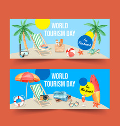 Tourism day banner design with swim ring umbrella vector