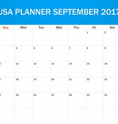 Usa planner blank for september 2017 scheduler vector