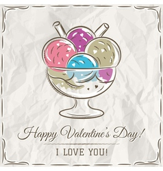 Valentine card with ice cream and wishes text vector