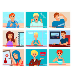 video bloggers characters flat set vector image