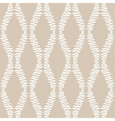 White leaves lace on beige background vector