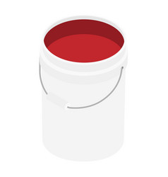 White plastic bucket with red color paint vector