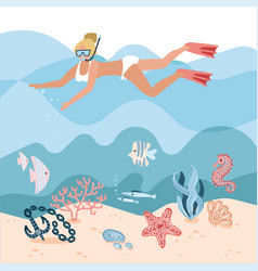 Woman character free diving or snorkeling vector