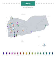 Yemen map with location pointer marks infographic vector