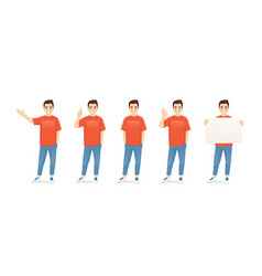 young man in casual clothes set vector image