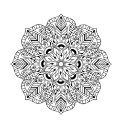Zentangle Mandala in monochrome doodle style Hand vector