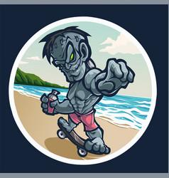 zombie mascot logo with skateboard vector image