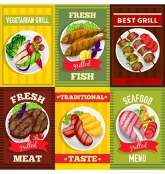 Barbecue Mini Posters Set vector image vector image