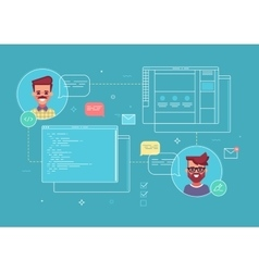 Business concept of cowork designer and programmer vector