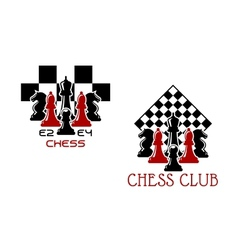 Chess club sport emblems or symbols vector image
