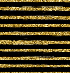 Golden glitter texture line on black background vector image vector image