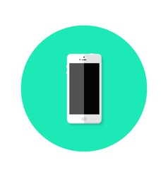 Modern White Smartphone Flat Circle Icon vector image vector image