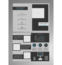 Business bifold brochure template dark grey vector image vector image