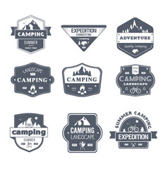 Camping activity - vintage set of logos vector