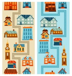 Town seamless patterns with cute colorful houses vector image