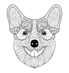 Zentangle Dog face in monochrome doodle style Hand vector image
