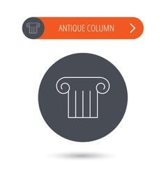 Antique column icon Ancient museum sign vector image vector image