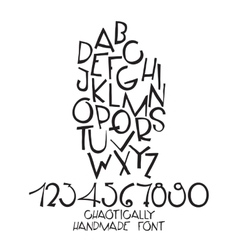 Chaotic decorative alphabet Hand drawn vector image