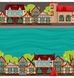 City by the river seamless pattern vector image