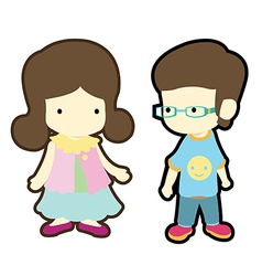 Cute boy and girl in casual style cloth fashion vector image vector image