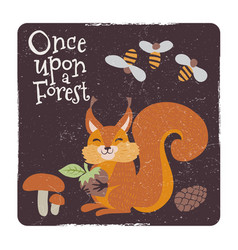 cute squirrel with nut and mushrooms and bee vector image