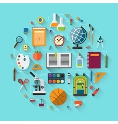 School background with education icons set vector image