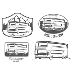 set of logos with tourist bus vector image