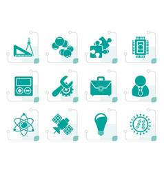 stylized science and research icons vector image