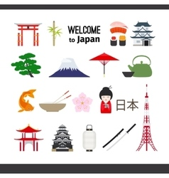 Travel Japan icons set vector image vector image