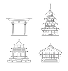 Chinees Building Thin Line Set vector image vector image