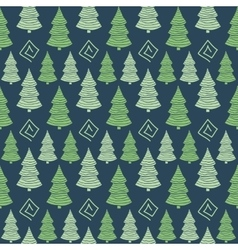 Christmas green tree seamless pattern vector image vector image