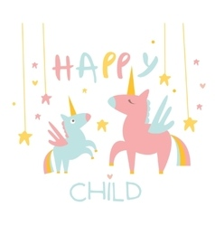 Cute Small Unicorn with Mom vector image