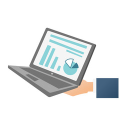 hand holding a laptop with chart and diagram vector image vector image